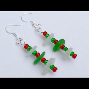 Jewelry - SEAGLASS EARRINGS Holiday Beaded Sterling Silver